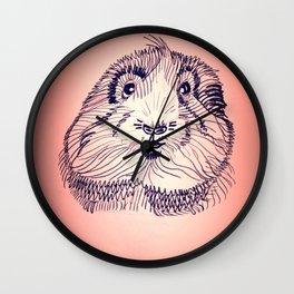 Peachy Guinea Pig Wall Clock