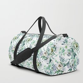 Country white green rustic watercolor floral Duffle Bag