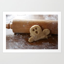 Ginger bread man and rolling pin Art Print