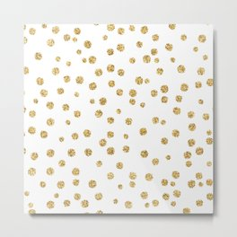 Gold glitter confetti on white - Metal gold dots Metal Print
