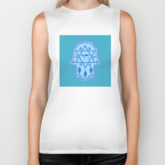 Hamsa for blessings, protection and strength - Turquoise Biker Tank