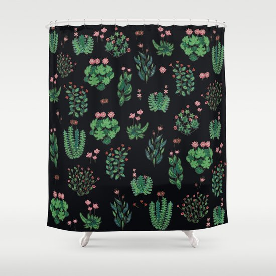 Green And Black Garden With Red Flowers Shower Curtain By