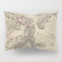 Vintage Map of Boston Railroads (1876) Pillow Sham