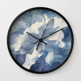 Blue Leaves in Shadows Wall Clock
