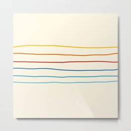Bright Classic Abstract Minimal 70s Rainbow Retro Summer Style Stripes #1 Metal Print