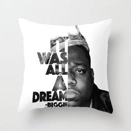 Urban Biggie Smalls Lyrics/Text Font Throw Pillow