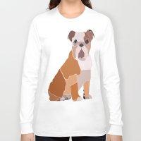 english bulldog Long Sleeve T-shirts featuring English Bulldog by ANIMALS + BLACK