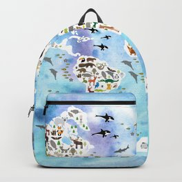 Cartoon animal world map, back to school. Animals from all over the world, blue watercolour watercolor Backpack