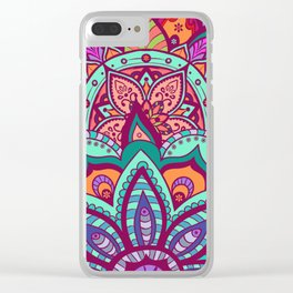 Bohemian Carnival Floral Mandala Clear iPhone Case