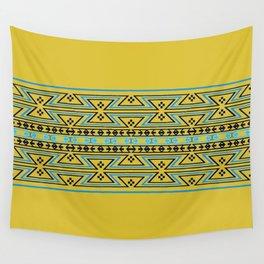 Native American Traditional Ethnic Tribal Geometric Navajo Blanket Motif Pattern Yellow Wall Tapestry