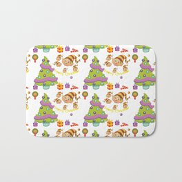 Hand painted green red Merry Christmas holiday typography pattern Bath Mat