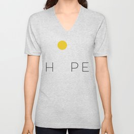 Sun Yellow Watercolor Minimalist Sunset Abstract Hope Positive Inspirational Quote Unisex V-Neck