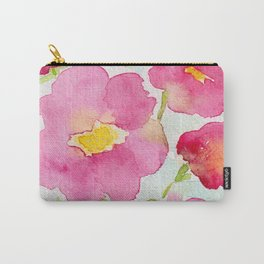 Magenta and Yellow Centered Watercolor Flowers Carry-All Pouch
