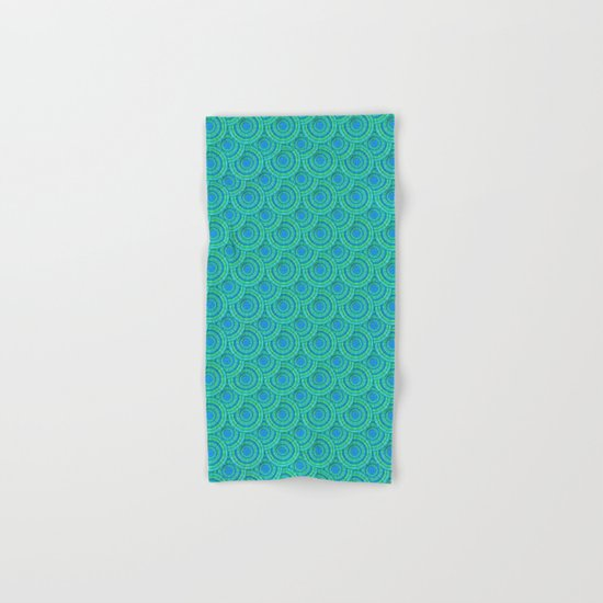 Teal Parasols Pattern Hand & Bath Towel