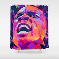 nba Shower Curtains featuring ERIC BLEDSOE: NBA ILLUSTRATION V2 by mergedvisible