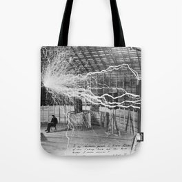 Nikola Tesla with his equipment (circa 1899) Tote Bag