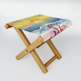 Flamingos in Lovers Delight Folding Stool