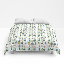 Potted Plants on a Shelf Comforters