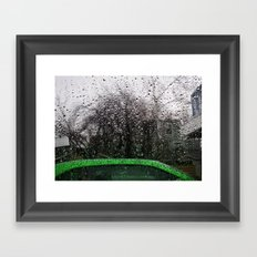 Green Car and Rain Framed Art Print