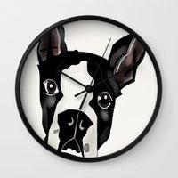 boston terrier Wall Clocks featuring Boston Terrier by transFIGure
