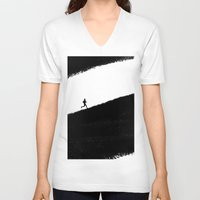 running V-neck T-shirts featuring Running by eARTh