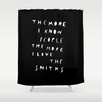 the smiths Shower Curtains featuring THE SMITHS by WASTED RITA