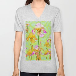 Contemporary Vibrant, Yellow-Purple Iris Pattern Art Unisex V-Neck