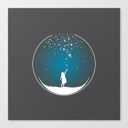 Christmas Girl Snowball - Make a Wish Canvas Print