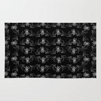 vagina Area & Throw Rugs featuring Batgina on black pattern by oozingsalt