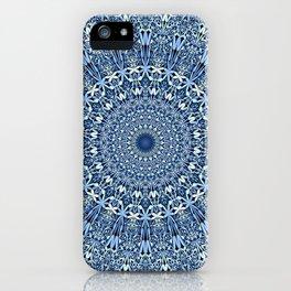 Light Blue Floral Mandala iPhone Case
