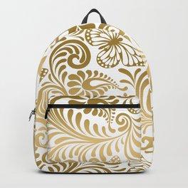 Metallic gold paisley Backpack