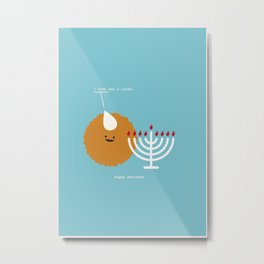 I Love You a Latke. Happy Hanukkah Metal Print