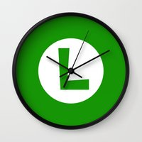 nintendo Wall Clocks featuring Nintendo Luigi by JAGraphic