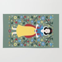 snow white Area & Throw Rugs featuring Snow White  by Carly Watts