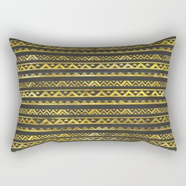 Geometric Lines Tribal  gold on black  leather Rectangular Pillow
