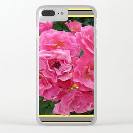 CLUSTERED PINK ROSES YELLOW-GREY ART Clear iPhone Case