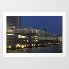 Germany Klimahaus Bremerhaven Canal Berth Evening Street lights Cities Building Design Pier Marinas Houses Art Print