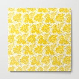 Pegasus Pattern Yellow Metal Print