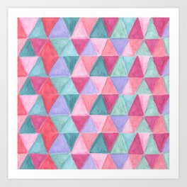pastel triangle pattern Art Print
