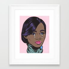 Crying Pastel African American Woman Framed Art Print