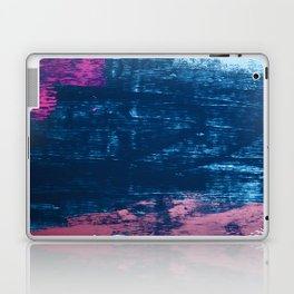 Early Bird [2]: A vibrant minimal abstract piece in blues and pink by Alyssa Hamilton Art Laptop & iPad Skin