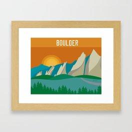 Boulder, Colorado - Skyline Illustration by Loose Petals Framed Art Print