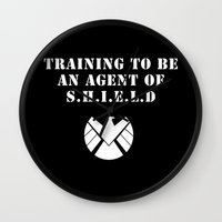 agent carter Wall Clocks featuring Agent of S.H.I.E.L.D V2 by Morgan Lianne