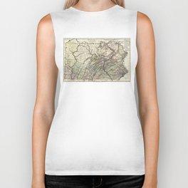 Vintage Map of Pennsylvania (1797) Biker Tank