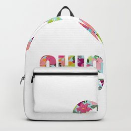 I Love Chickens Floral Pattern Heart Backpack