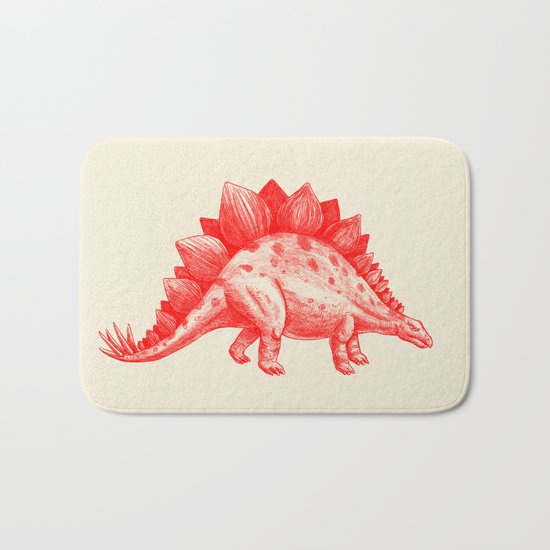 Red Stegosaurus  Bath Mat