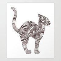 Upward Stretchy Cat Art Print
