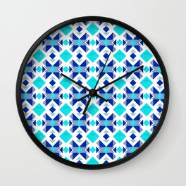 Morrocan blue tiles with marble texture Wall Clock