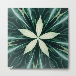 White Leaves In A Green Forest Kaleidoscope Metal Print