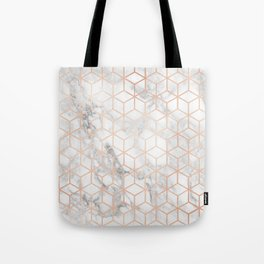 Marble & Rose Gold Squares Tote Bag